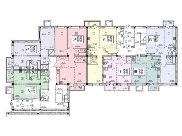 Блок-секция 14. Планировка 1 этажа