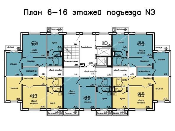 Планировки Жилой комплекс Иннокентьевский, 3 мкр, дом 3 - 3 подъезд, 6-16 этажи