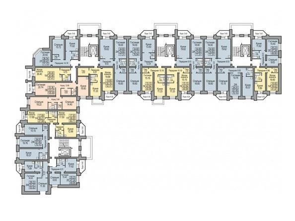 Планировки Жилой комплекс КОСМИЧЕСКИЙ, дом 8 - Планировка типового этажа