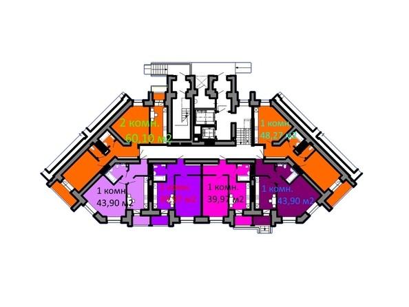 Планировки Жилой комплекс СЕРЕБРЯНЫЙ БЕРЕГ, дом 5 - Подъезд 2. Планировка 1 этажа