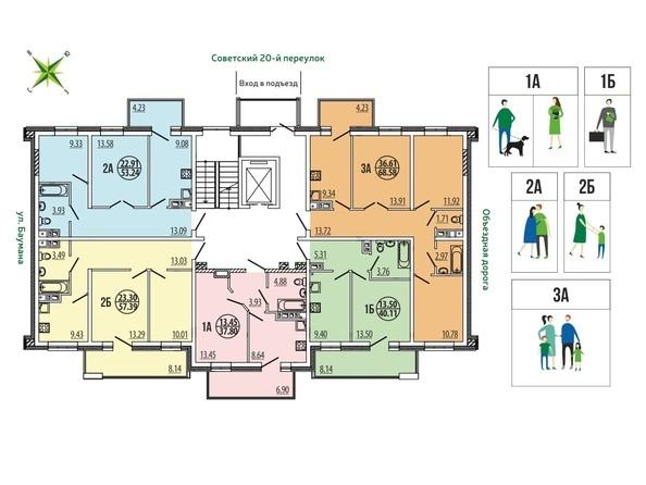 Планировки Жилой комплекс ЭВОЛЮЦИЯ, 2 оч, б/с 4-14 - Планировка типового этажа