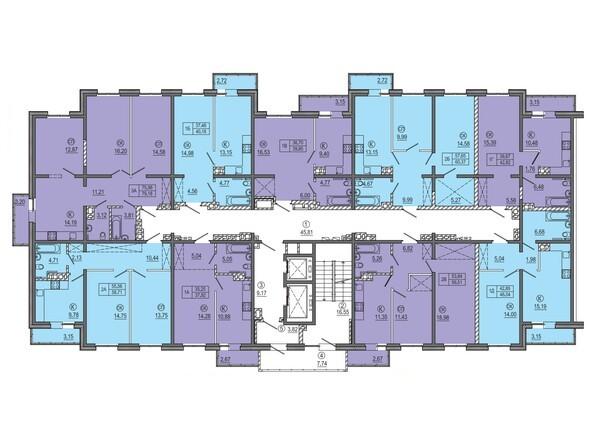Планировки Жилой комплекс РЕКОРД, 2 этап - МКД 2. Планировка типового этажа.