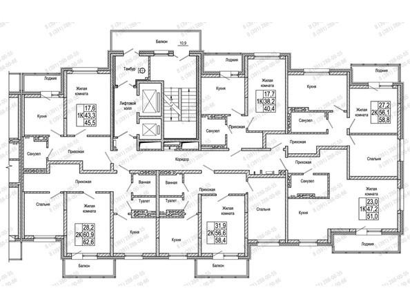 Планировки Жилой комплекс КОМСОМОЛЬСКИЙ  - Блок-секция 1. Планировка 3-10 этажей