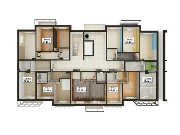 Планировки ЮГО-ЗАПАДНЫЙ, б/с 8-10 - Блок-секции 8, 10. Планировка типового этажа