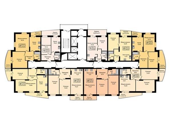 Планировки Жилой комплекс РУБИН - Планировка 5-12 этажей