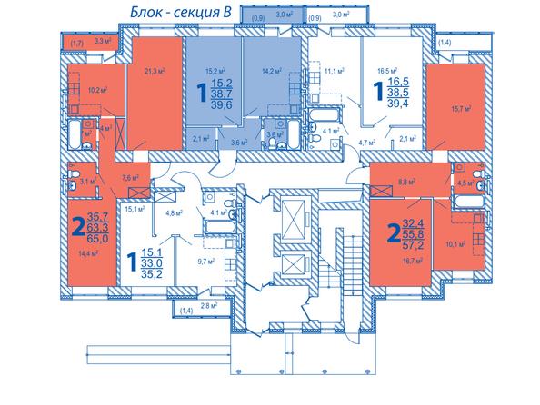 Планировки ВЕРХНИЙ БУЛЬВАР, дом 3, б/с «В», «Г» - Блок-секция В. Планировка типового этажа