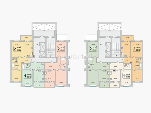 Планировки ГРАНД-ПАРК, б/с 2-2 - Блок-секция 2-2. Планировка 2 этажа