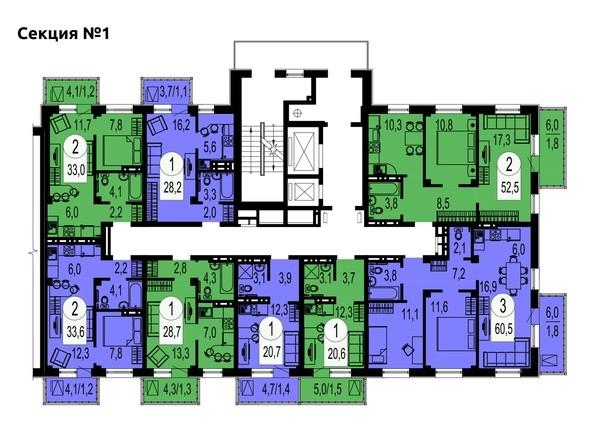 Секция 1. Планировка типового этажа.