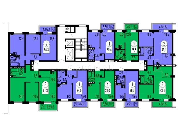 Планировки Жилой комплекс СЕРЕБРЯНЫЙ, квр В, дом 4 - Блок-секция №3. Планировка типового этажа