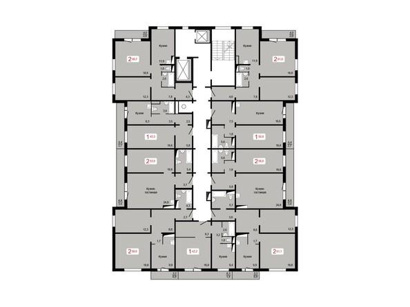 Планировки Жилой комплекс КУРЧАТОВА, дом 8, стр 2 - Планировка 10-16 этажей