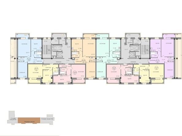Планировки Жилой комплекс Амурский-2, дом 25 - Блок-секция 2. Планировка типового этажа.