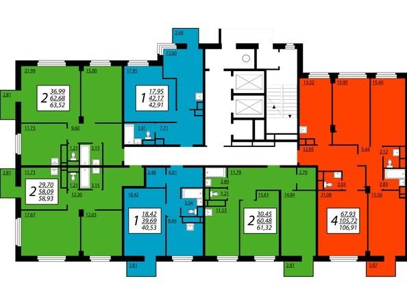 1 секция, 6,8,10,12,14,16 этажи