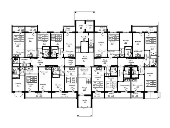 Планировка 1 этажа. Блок-секция 2