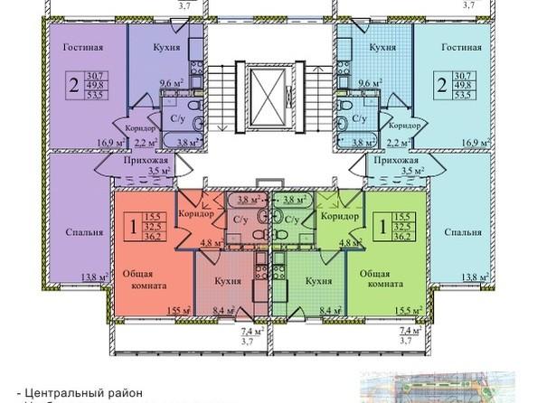 Планировки Жилой комплекс КЕМЕРОВО-СИТИ, дом 37, б/с 1, 2, 3 - Планировка типового этажа, 1 б/с