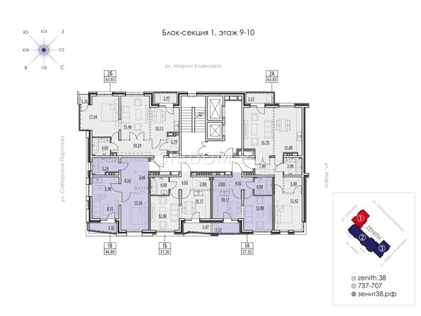 Планировка 9,10 этажа