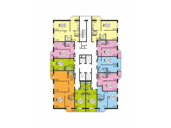 Планировки Жилой комплекс Немировича-Данченко, дом 1 - Планировка типового этажа