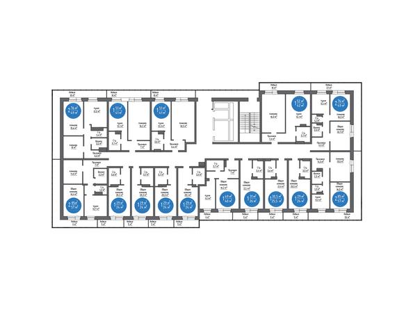 Планировки Жилой комплекс НА БОЛЬШОЙ ПОДГОРНОЙ, Б/С 7,8 - Планировка типового этажа, 7 б/с