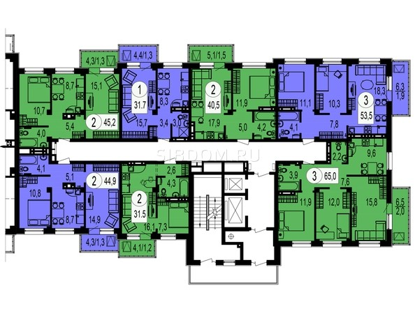 Секция 3. Планировка типового этажа.