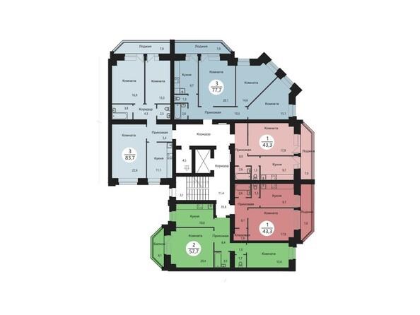 Блок-секция 6. Планировка типового этажа