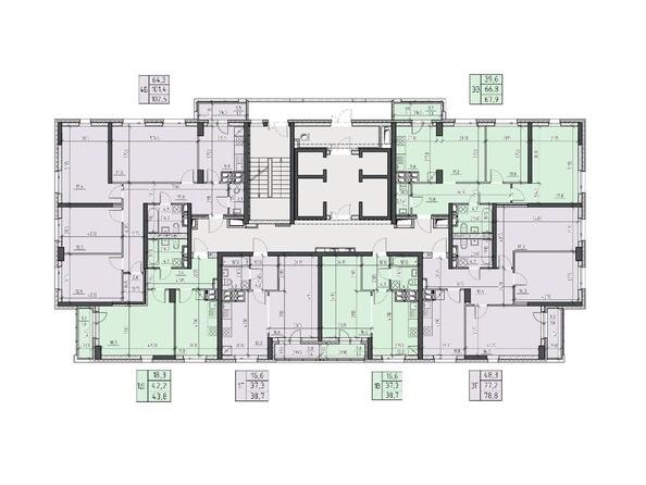 Планировки Жилой комплекс НА ВЫСОТЕ, 2 этап - Планировка 13, 15 этажей