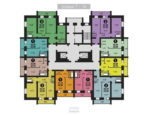 Планировки Жилой комплекс ЭДЕЛЬВЕЙС, дом 6, 6 оч - Планировка 7-16 этажи
