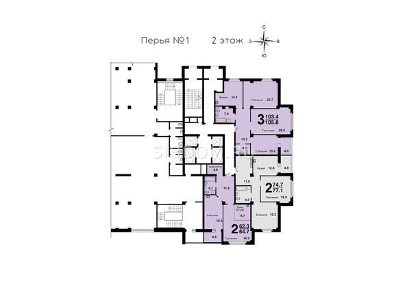 Планировки Жилой комплекс ПЕРЬЯ ж/к, дом 1 - План 2 этажа