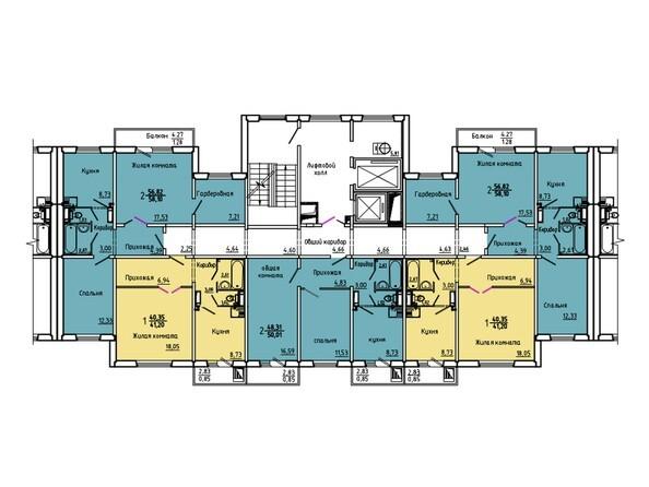 Планировки Жилой комплекс Нанжуль-Солнечный мкр, дом 5 - Подъезд 6. Планировка 15-16 этажей