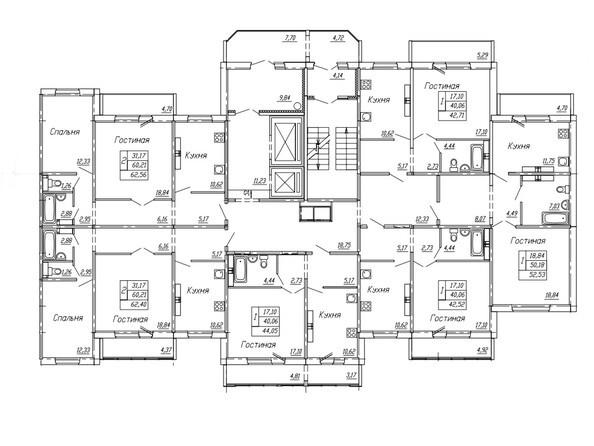 Планировки Жилой комплекс НА ОМСКОЙ - Подъезд 2. Планировка 4,5,7-10,15,16 этажей