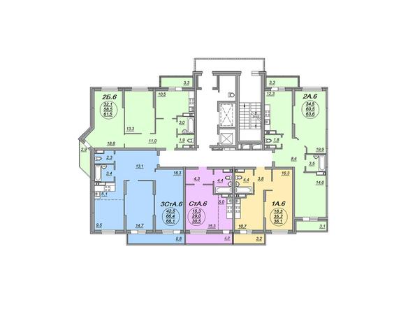 Планировки Жилой комплекс МАТРЕШКИН ДВОР 105, дом 2, 1 этап - Блок-секция 2. Планировка 14-16 этажей