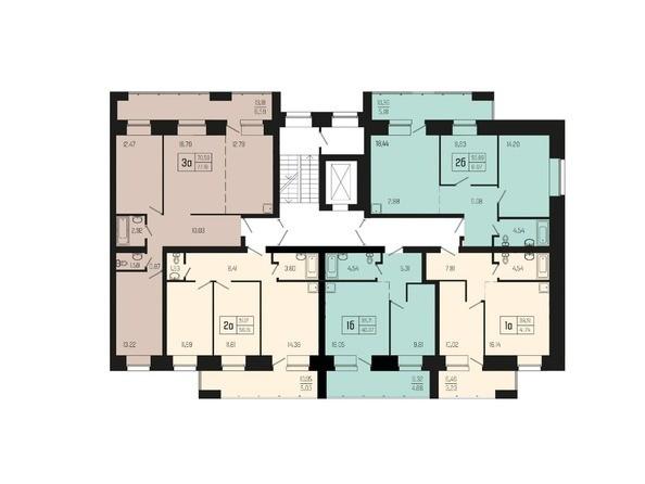 Планировки Жилой комплекс ХОРОШЕЕ МЕСТО - Подъезд 1. Планировка типового этажа