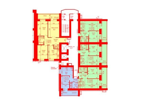 Планировки Жилой комплекс ЛАЗУРНЫЙ-2, дом 3 - Планировка 2-7 этажей, 3 б/с