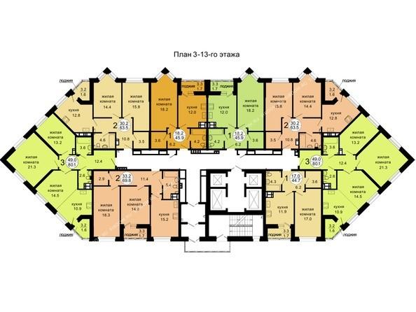 Планировки Жилой комплекс НОВАЯ ПАНОРАМА , дом 3 - 3-13 этажи