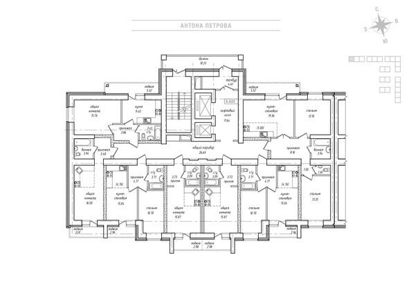 Планировки Жилой комплекс Антона Петрова, 221д/1 - Планировка типового этажа, 3 б/с
