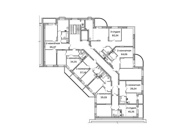 Планировки Жилой комплекс ВЕСЕННИЙ, 5 этап, дом 2 - Блок-секция 2. Планировка 2 этажа