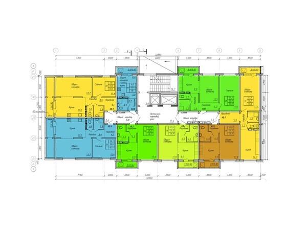 Планировки Жилой комплекс ВРЕМЕНА ГОДА, дом 108 - Планировка типового этажа, 3 б/с