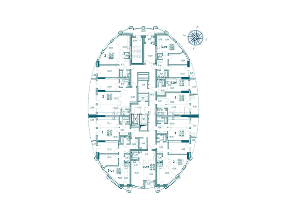 Планировки Жилой комплекс ФЛОТИЛИЯ - Планировка 3-15 этажей дома «Адмирал Лазарев»