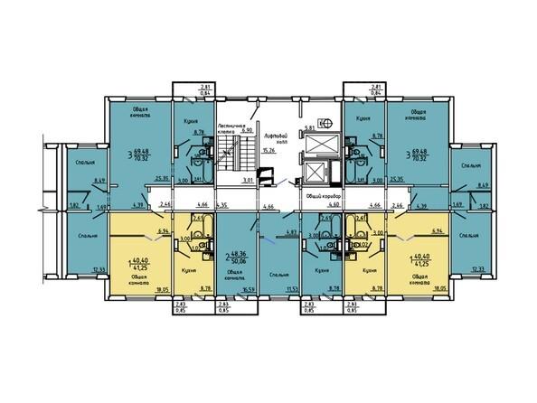 Планировки Жилой комплекс Нанжуль-Солнечный мкр, дом 5 - Подъезд 1. Планировка 2-14 этажей