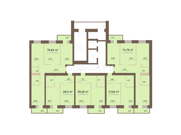 Планировки Жилой комплекс Академгородок, дом 1, корп 2 - Корпус 2. Подъезд 8. Планировка 2-6 этажей