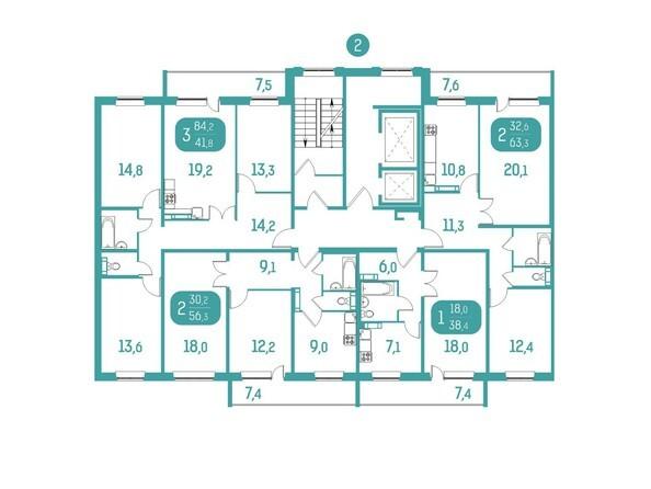Планировки Жилой комплекс АКВАМАРИН, дом 10 - Блок-секция 2. Планировка типового этажа