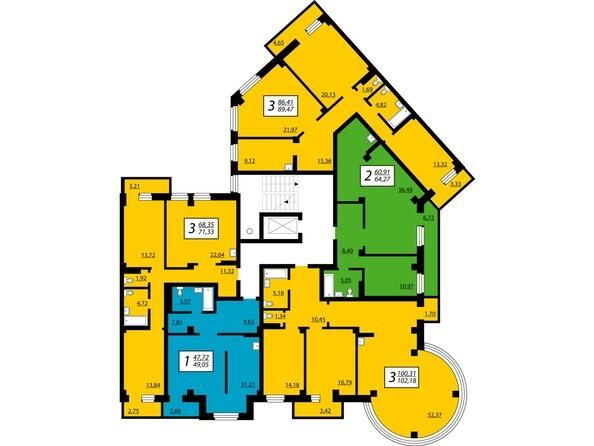 1 секция, 2-7 этажи