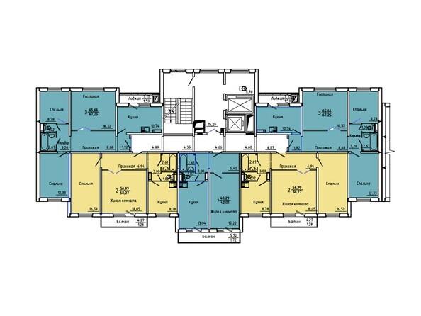 Планировки Иннокентьевский, 3 мкр, дом 6 - Подъезд 1. Планировка 2-14 этажей
