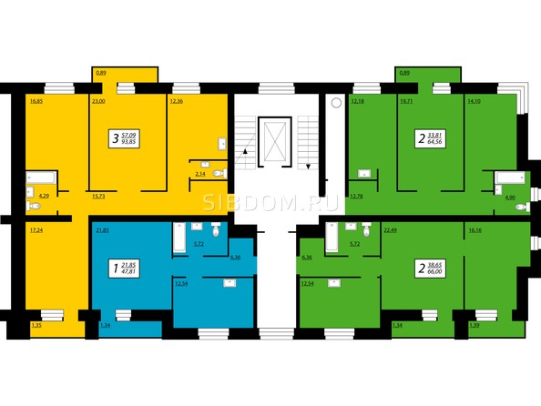 1 блок, 1 секция,5-8 этажи