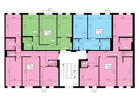 Планировки Жилой комплекс ЖИВЁМ эко-район, 2 квартал, дом 2 - Дом №2 и дом №3. Секция №2. Типовой этаж