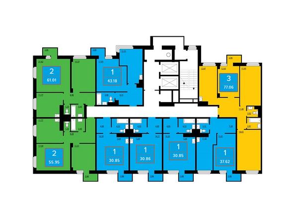 Подъезд 1. Планировка нечетных этажей