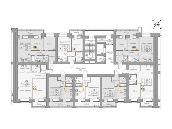 Планировки ДВЕ ЭПОХИ, корпус 1 - Планировка 3 этажа, 2 б/с