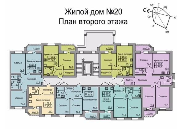 Планировки Жилой комплекс 4 мкр, дом 20 - Подъезд первый. Планировка 2 этажа