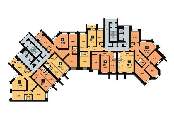 Планировки Копылова, 5 дом, 1 оч - Планировка 4 этажа