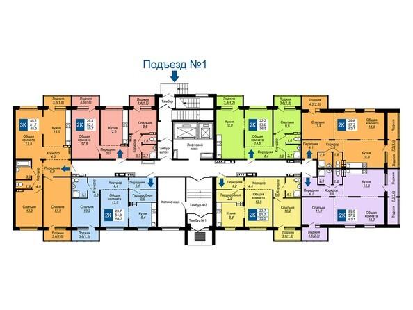 Подъезд 1. Планировка 1 этажа