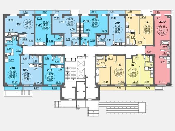 Планировки Жилой комплекс ЛЕТО, дом 3, б/с 1,2 - Блок-секция 1. Планировка 1 этажа