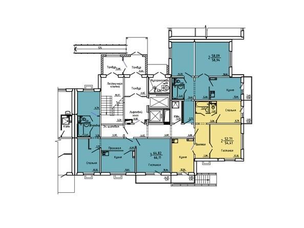 Планировки Жилой комплекс Нанжуль-Солнечный мкр, дом 5 - Подъезд 8. Планировка 1 этажа